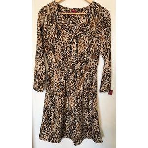 Ruffle Front Leopard Print Dress